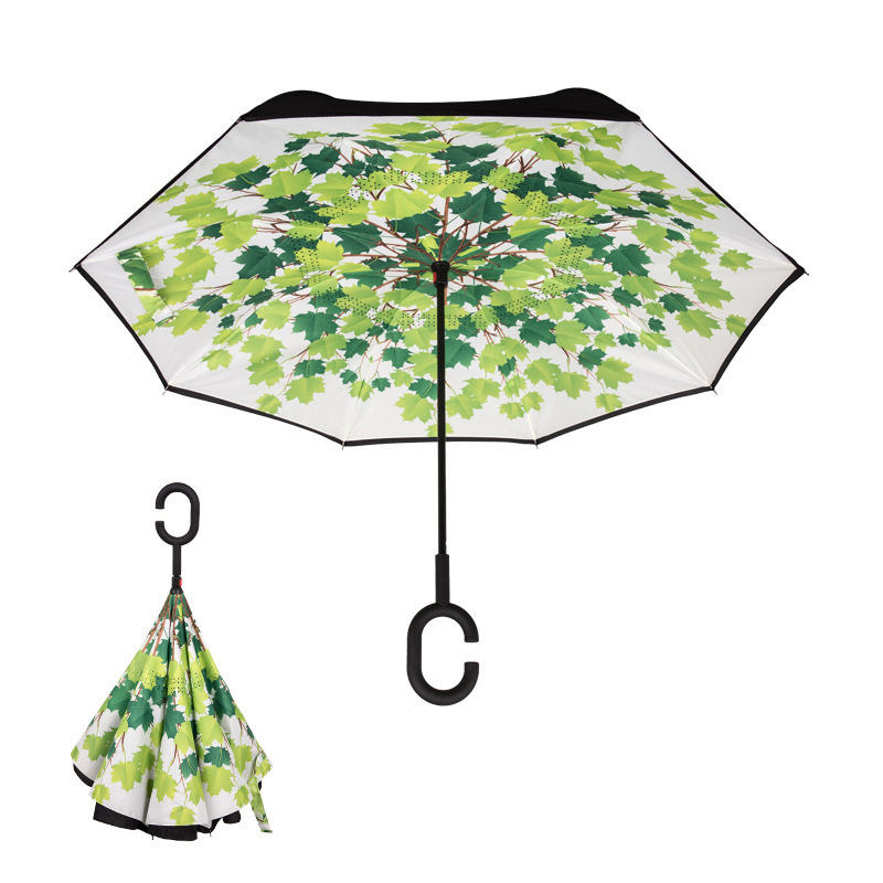 New Style Custom UV Protection Windproof Double-Layer Reverse C Handle Inverted Umbrella