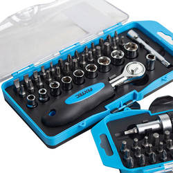 FIXTEC 38-Piece Magnetic Ratchet Wrench and Screwdriver Set With Bits