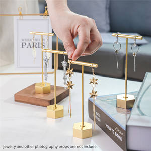 Gold Stud Earring Stand Display for Earring  T Bar Metal Counter Hanging Gold Earring Display Stand for Sale