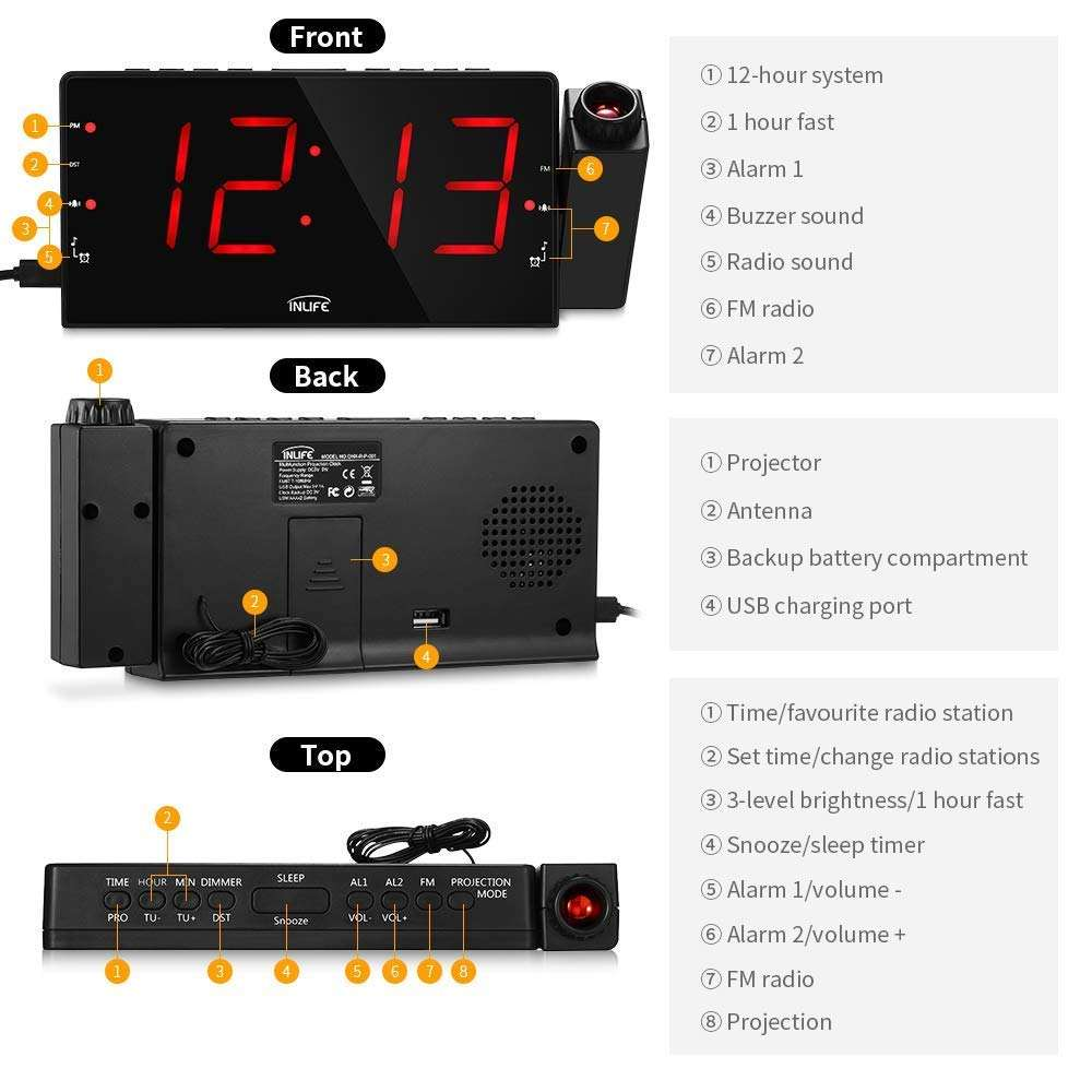 AM FM Radio digital clock led mechanism led Digital Desk/ Double table clock for Bedroom, Kitchen, Kids