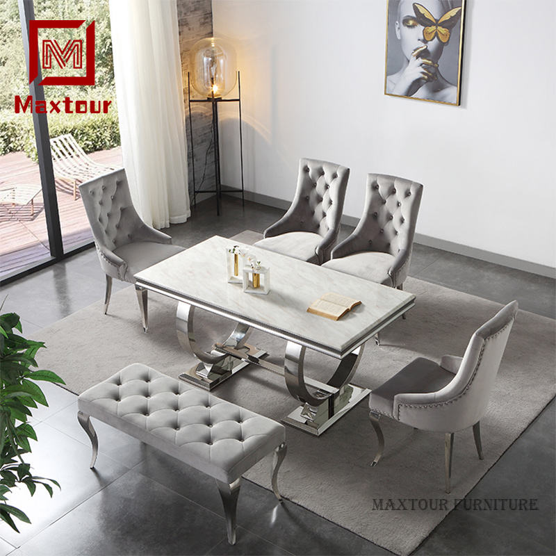 Arianna marble dining table set modern
