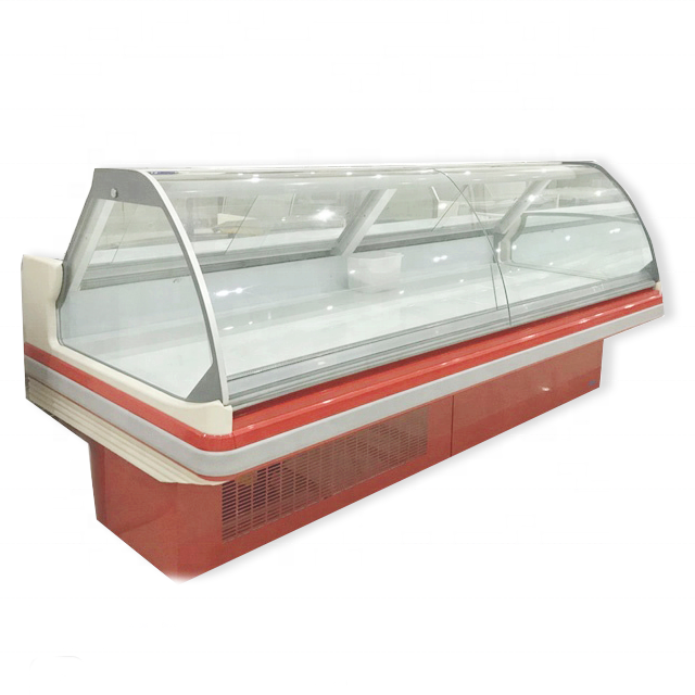 supermarket commercial curved glass deli food display counter fridge
