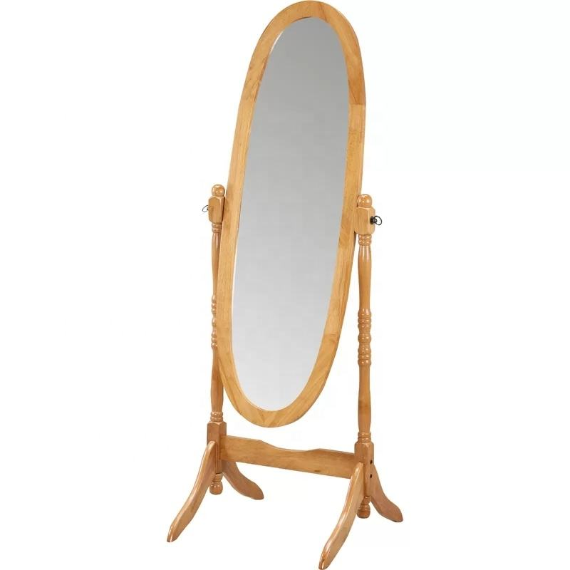 Amazon Best Seller cheap price Decorative Wooden Framed Beveled Dressing Floor Oval Free Standing Mirror