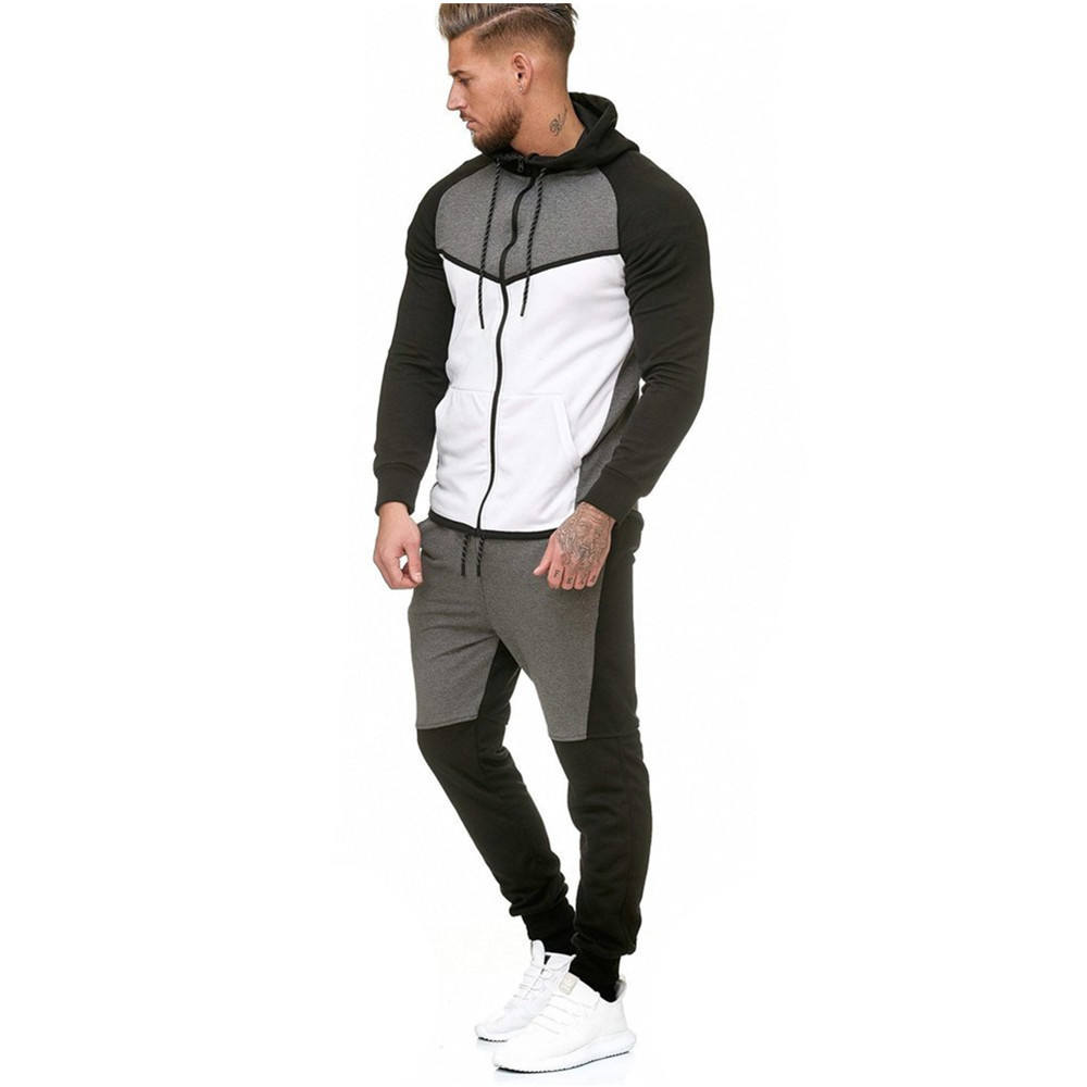 Mens Fleece Sweat Suits Tracksuit Outdoor Sports Casual Jogging Suits
