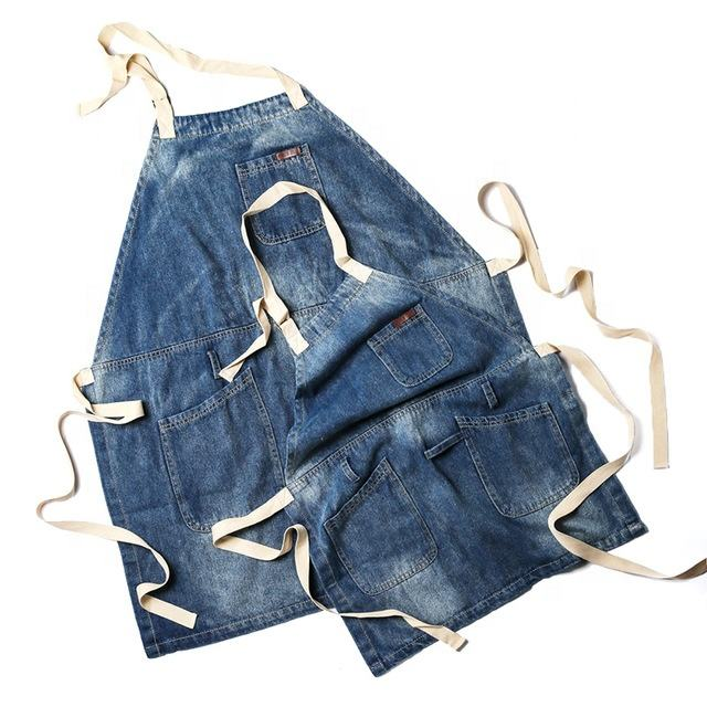 Customized Thick women BBQ Denim Cotton Jeans Apron Pattern With Pocket