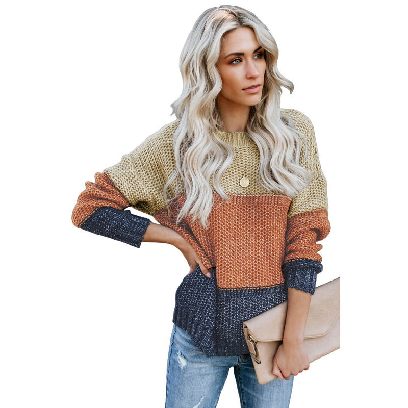 Neue Design Farbe Block Netted Textur winter stricken pullover frauen pullover
