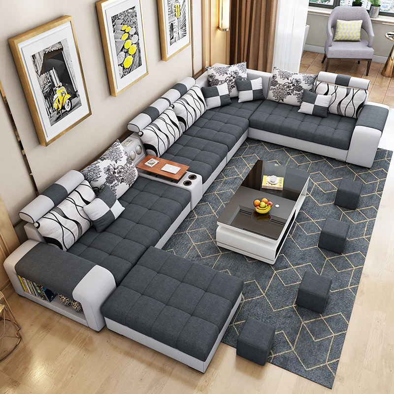 furniture factory provided living room sofas livingroomsofa living room technology cloth sofa set 7 seaterfabric sofa 1903