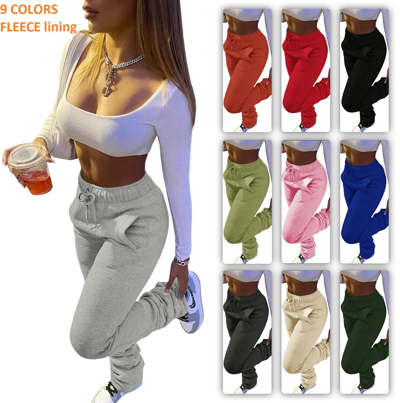 S- 3XL winter solid color women Stacked Bottom Custom fleece Women Sweatpants joggers thick Stacked Leggings