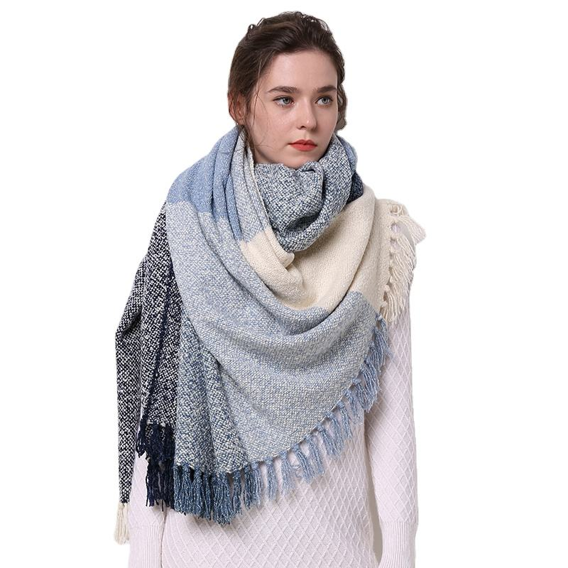 female tartan fine wool women's stoles wraps with fringes Luxury Lamb's Wool Scarves for Women