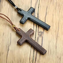 Handmade Vintage Leather Cord Wooden Cross Necklace For Men And Women