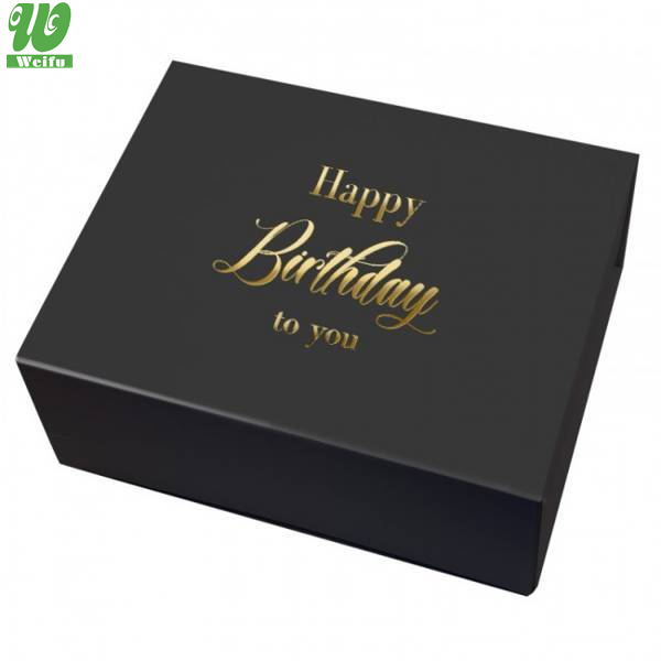 Customization Garment Clothing Black Matte Rigid Book Shape Magnetic Embossed Gold Foil Gift Folding Box With Insert