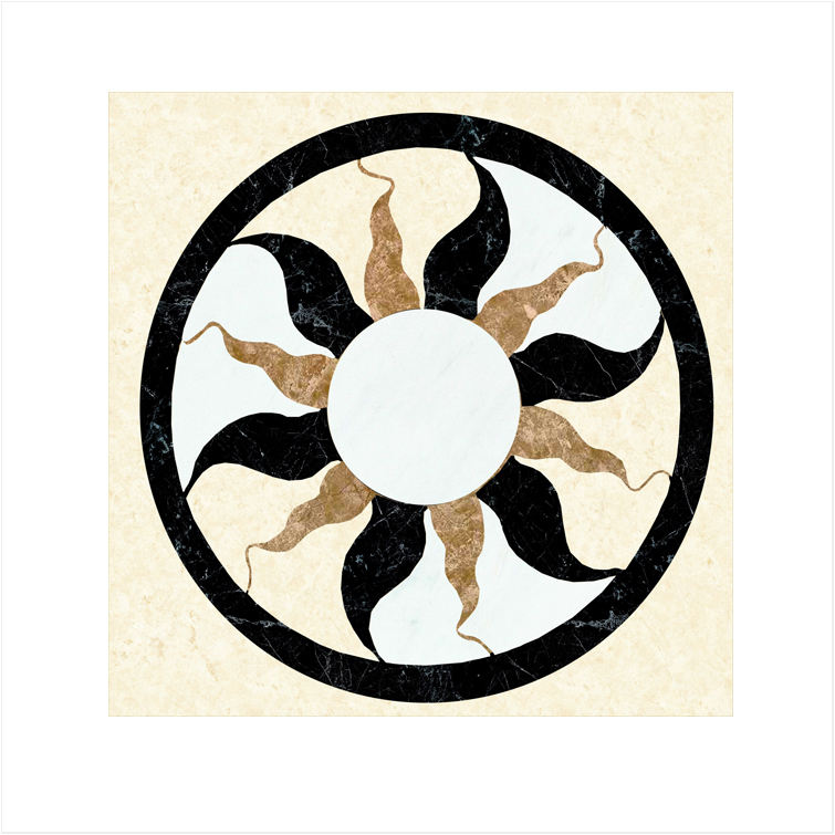 Marble water jet medallion tile designs waterjet inlay flooring medallions pattern for hotel lobby