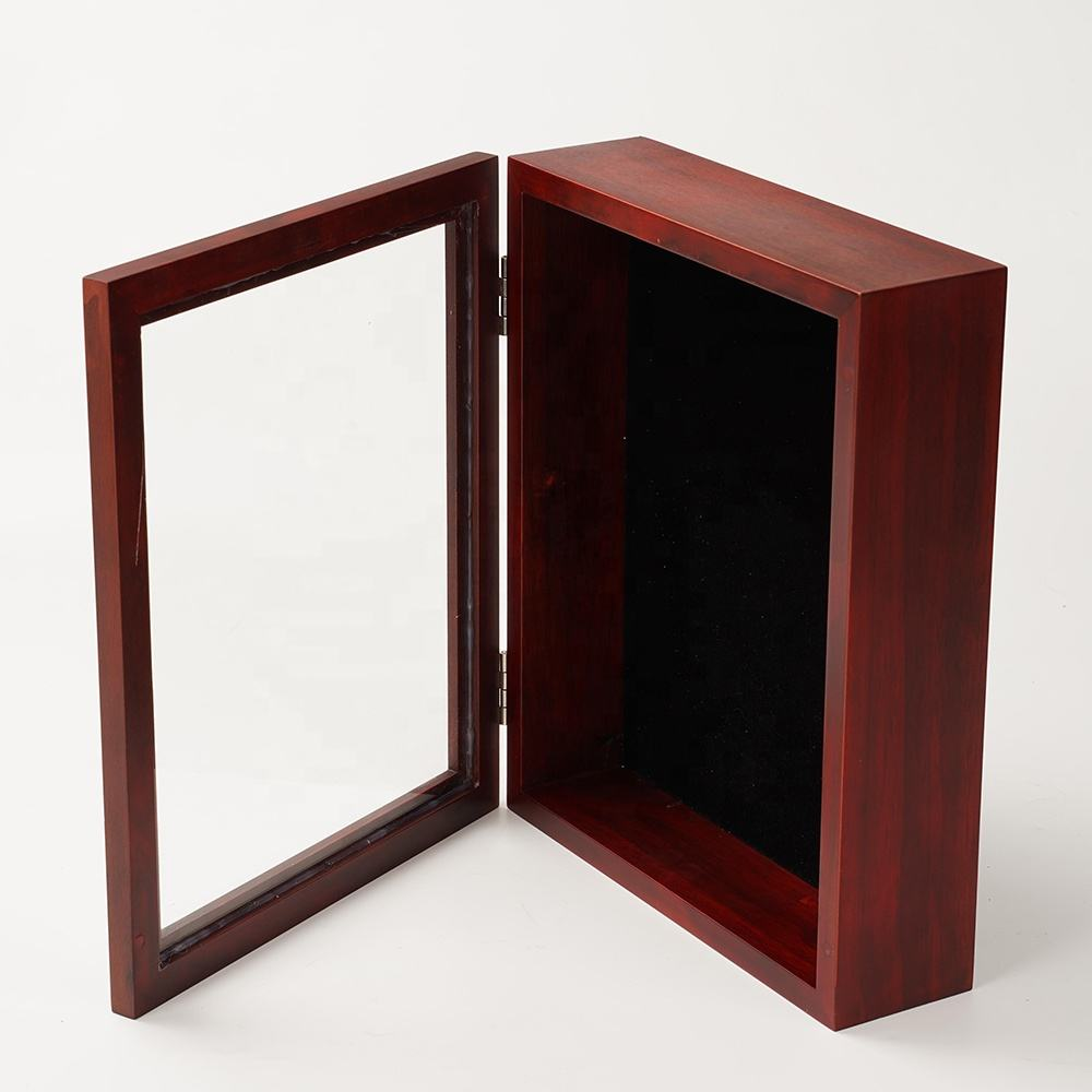 High quality Wholesale foldable cherry finish solid wood 8x10inch Shadow Box picture photo Frame