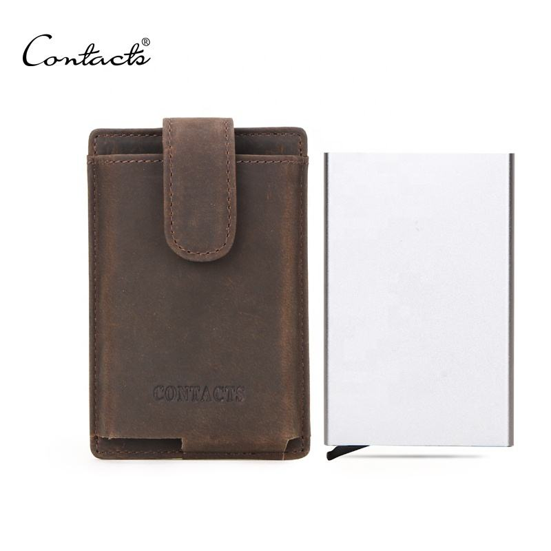 wholesale Contacts latest designer rfid blocking pop up aluminium metal case business credit visa smart wallet mens card holder