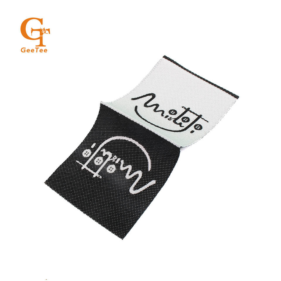 personality brand name center fold clothing woven labels,woven loop fold label, main label for clothing