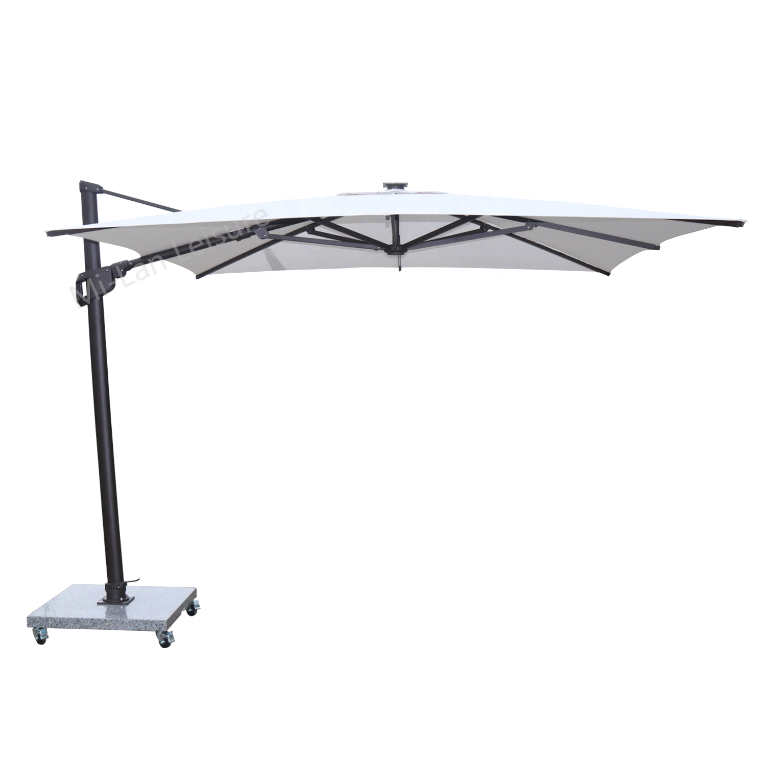 3x3M LED Commercial Hanging Patio Cantilever Umbrella Parasol Olefin Fabric Aluminium Frame LED Offset Umbrella