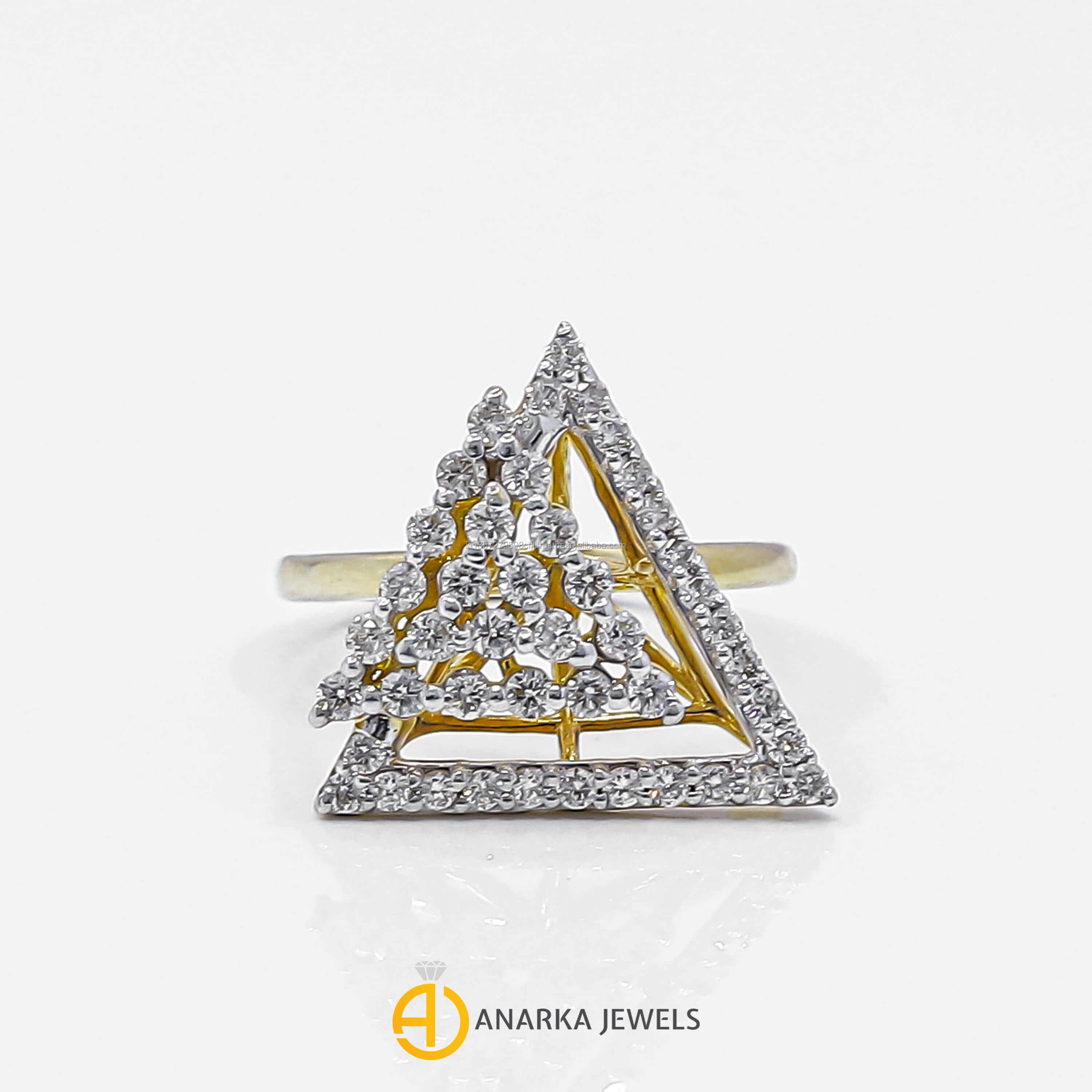 14K Yellow Gold Diamond Geometrical Design Triangle Shape Ring PPR-946