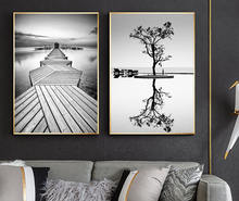 Nordic Style Prints Wall Art Black And White Tree Poster Minimalist Bridge Modular Landscape  Painting Canvas
