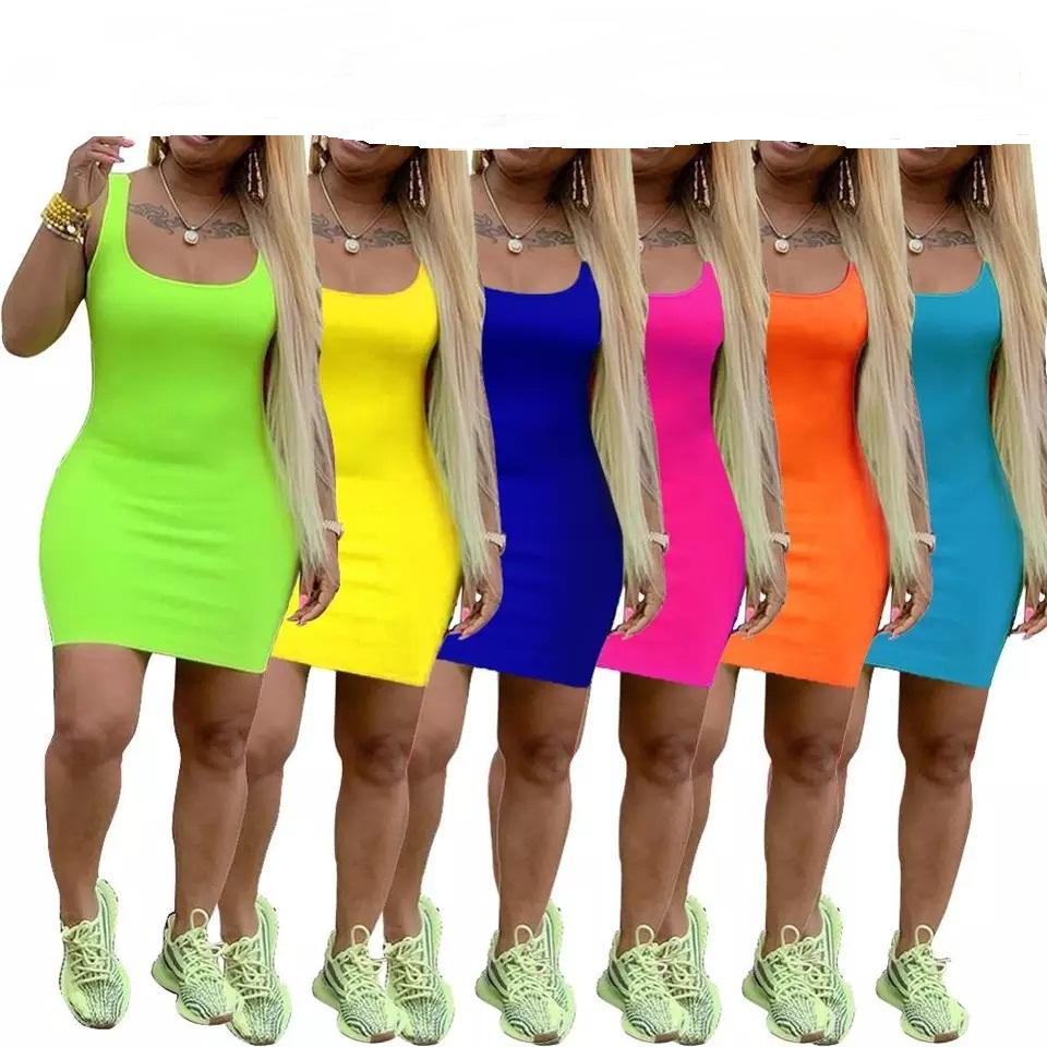 new women summer o-neck sleeveless bodycon above knee midi dress sexy casual tank dresses 7 colors