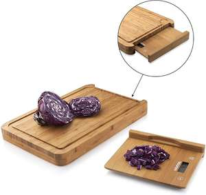 Eco-friednly Natural Food Prep Bamboo Cutting Board With Removable Kitchen Digital Scale