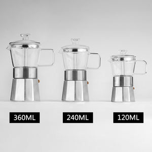Customizable 3/6/9/Cups Pyrex Glass Manual Espresso Aluminum Coffee Maker Latte Percolator Stove Top Stovetop Moka Pot