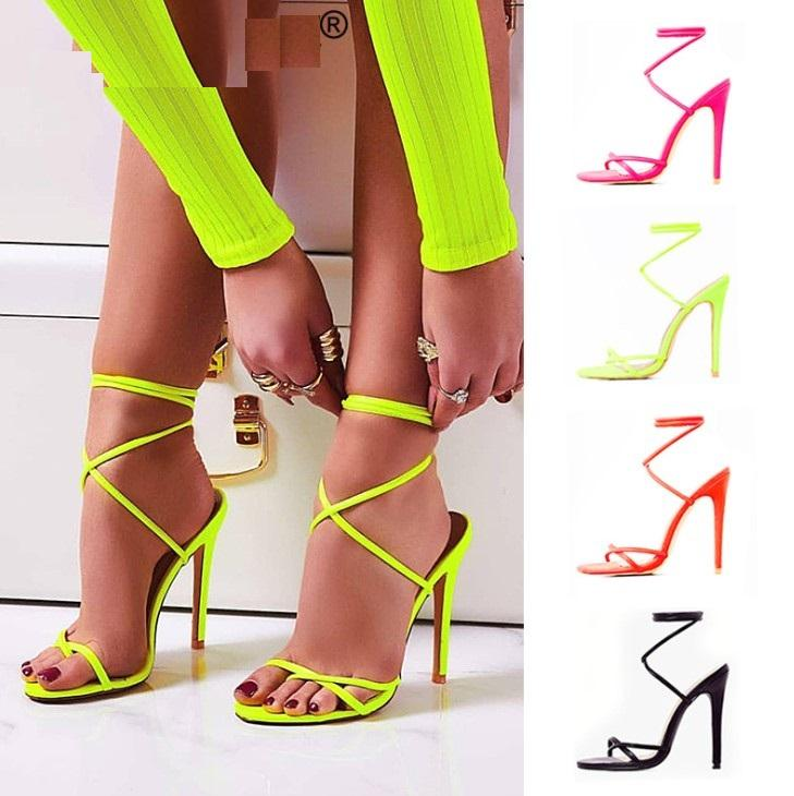 hb10167a 2020 New design women high heel sandals size 12 fashion lace-up ultra high with shoes