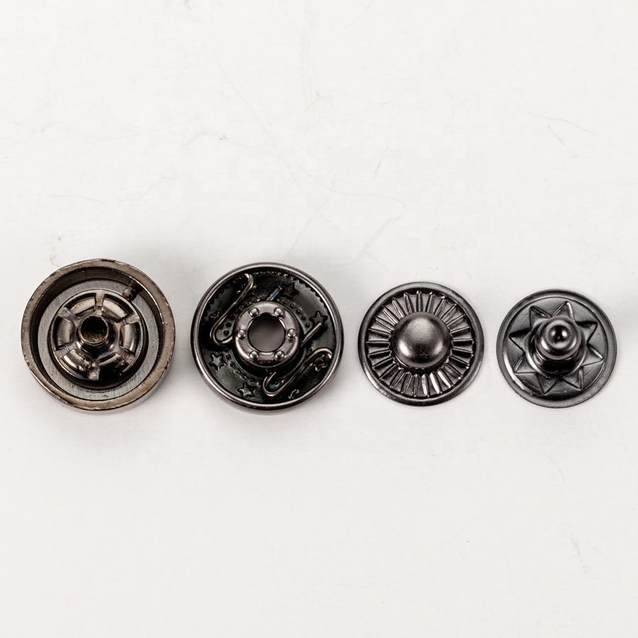 New Fashion Matt Black Metal Snap Button Acrylic for Leather