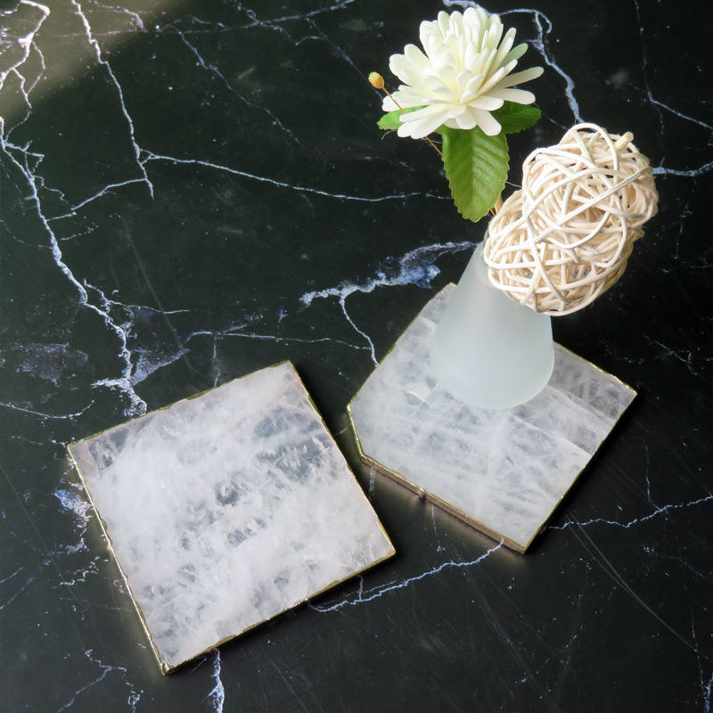 Wholesale natural square white slices crystal coasters Gold Edge marble coasters