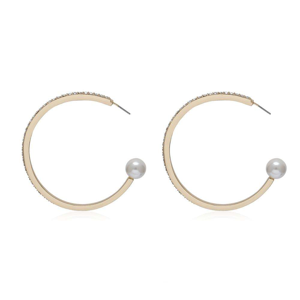 2020 Fashion Geometric Big C shape Earrings Metal Circle Round Drop Earring White Pearls Earrings for Women Femme Jewelry Bijoux