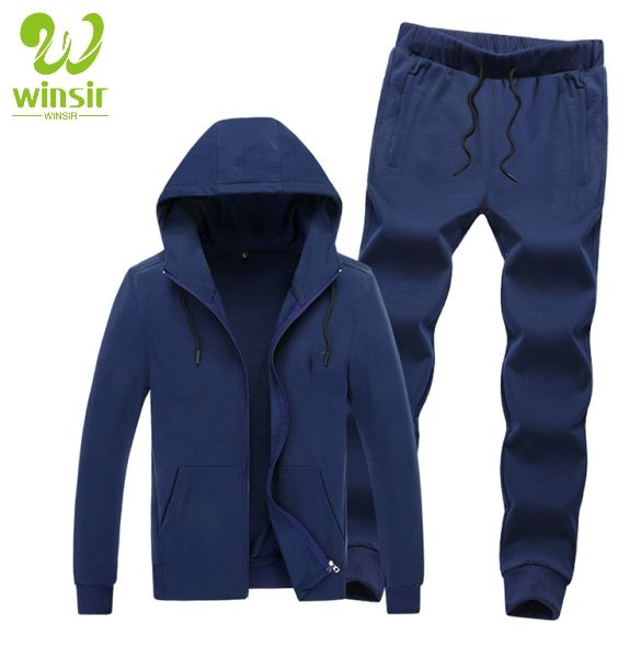 Men's Solid Navy Casual Tracksuit Long Sleeve Full-Zip Running Athletic Gym Jogging Working Sports Hooded Jacket and Pants Set