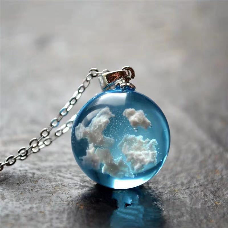 Blue sky and white clouds bright resin ball pendant necklace for women