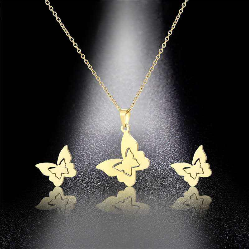 New Arrivals Stainless Steel Initial Letter Gold Plated African Women Necklace and Earring Jewelry Set