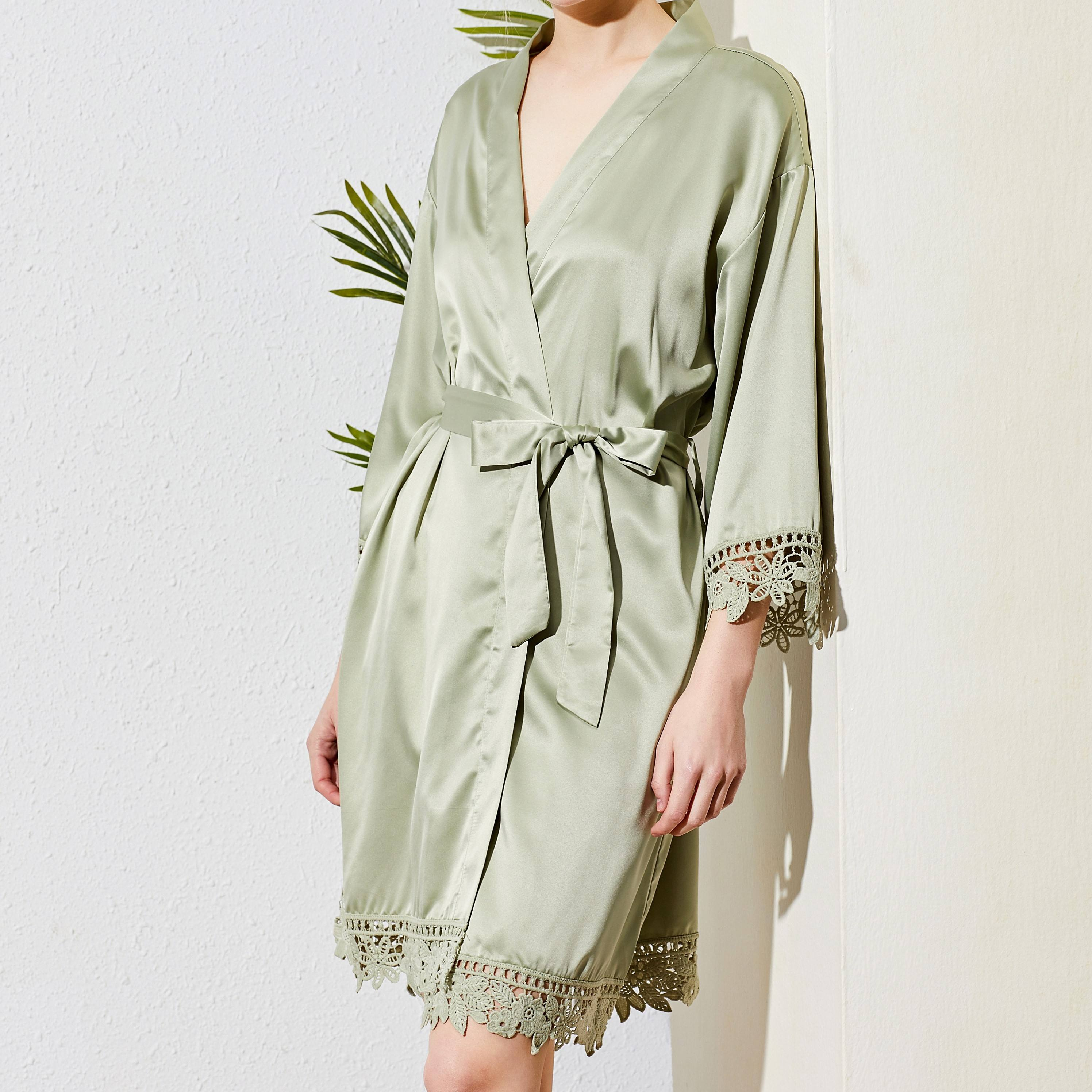 Hot Sell Sexy Stain Lace Robes sexy nighty sex sleepwear women Silk Soild Robes For Wedding Bride Gift Bathrobe