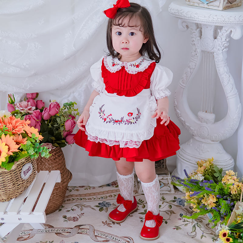 Children kids clothing holiday festival casual vintage spanish floral embroidery baby girls dress