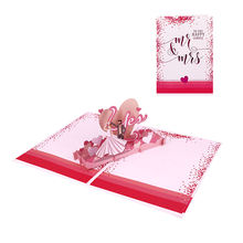 Luxury Laser Cut 3d Pop Up Wedding Invitation Card With Love Heart