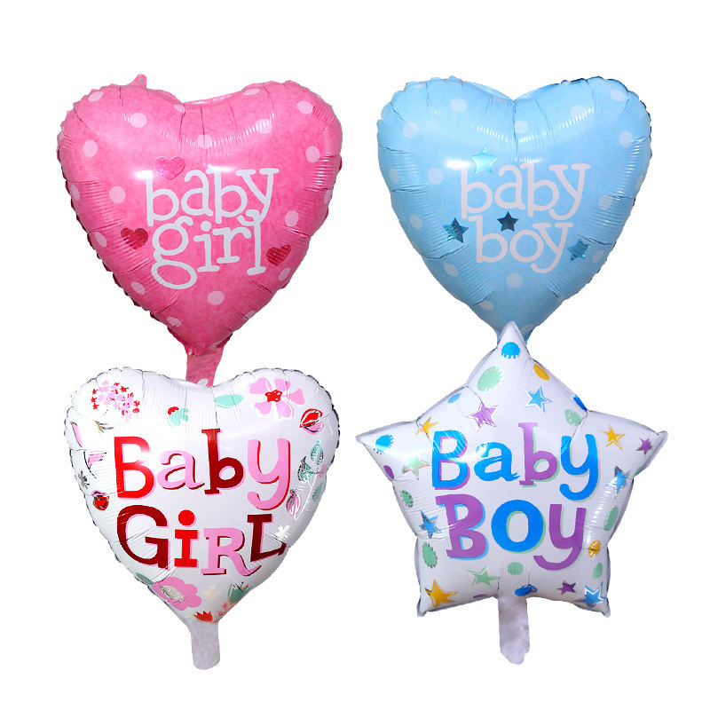 Wholesale baby boy and baby girl heart and star shaped party foil helium balloon