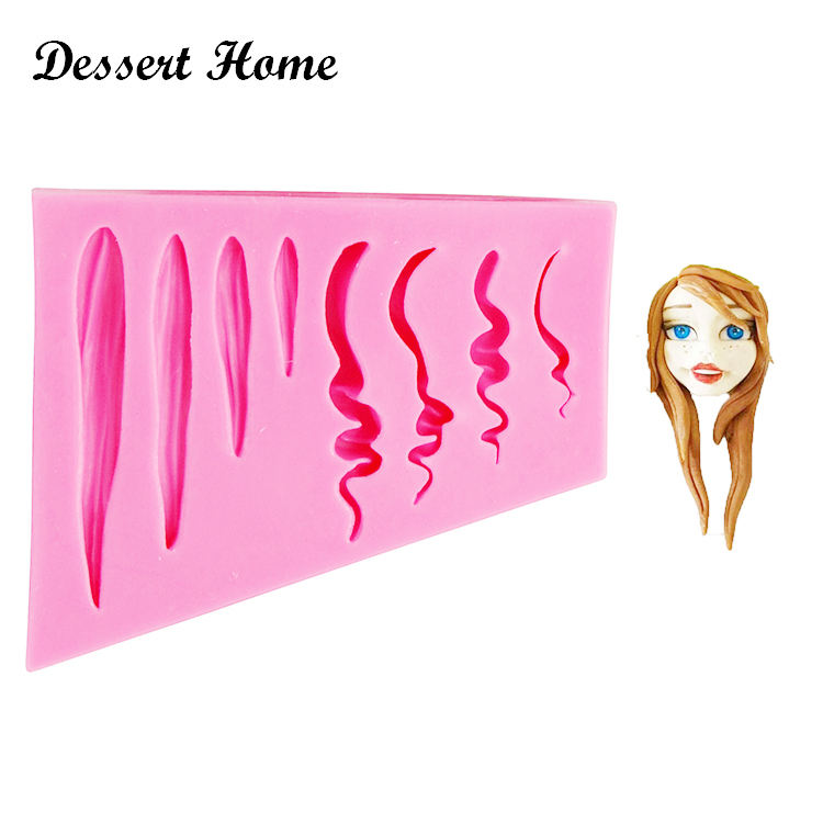 D1424 Girl hair cake design silicone mold cake decorating tools Resin Molds Safe-resin clay chocolate