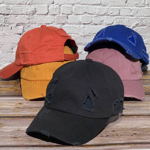 wholesale men woman 100% cotton twill stone washed 6 panel distressed dad hat worn out distressed cap distressed dad hats caps