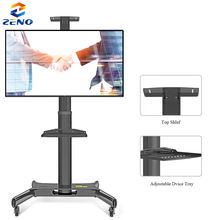 161 Height Adjustable Mobile TV Trolley Cart  Wheels Rolling LCD Floor Stand Mount for LED TV Plasma Screen 32-65 TV Rack