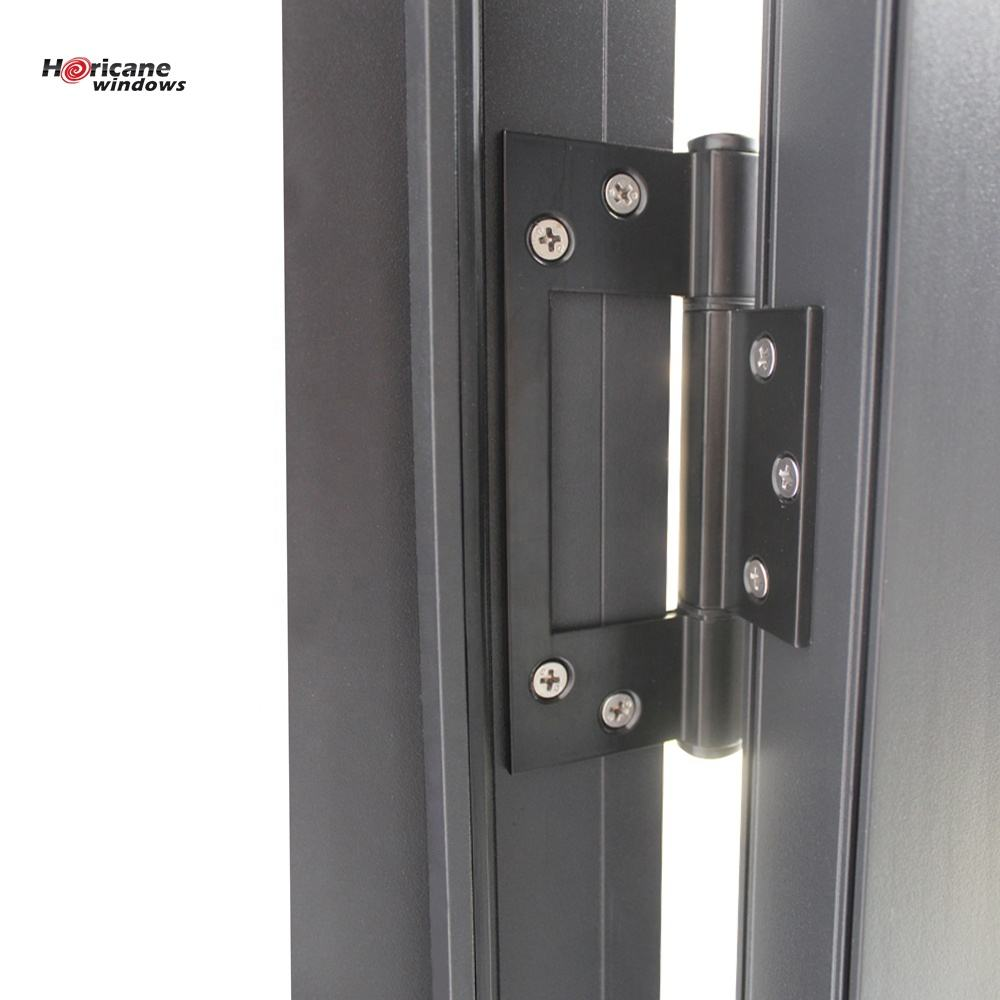 New design factory price modern entry black powder coated exterior glass aluminium double door for sale