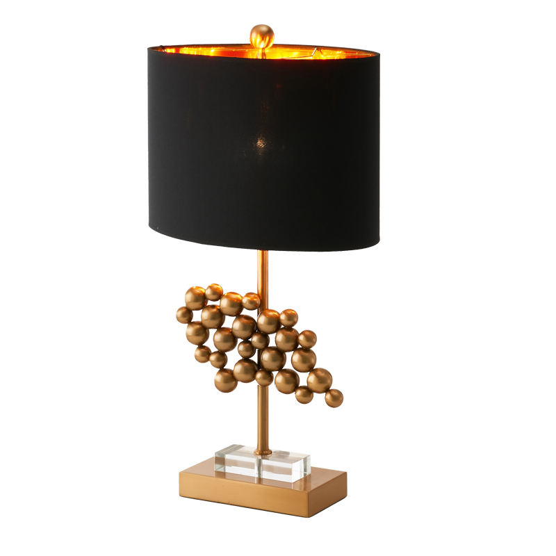 Antique Minimalist gold iron ball moroccan brass table lamp brass with black lampshade for decor