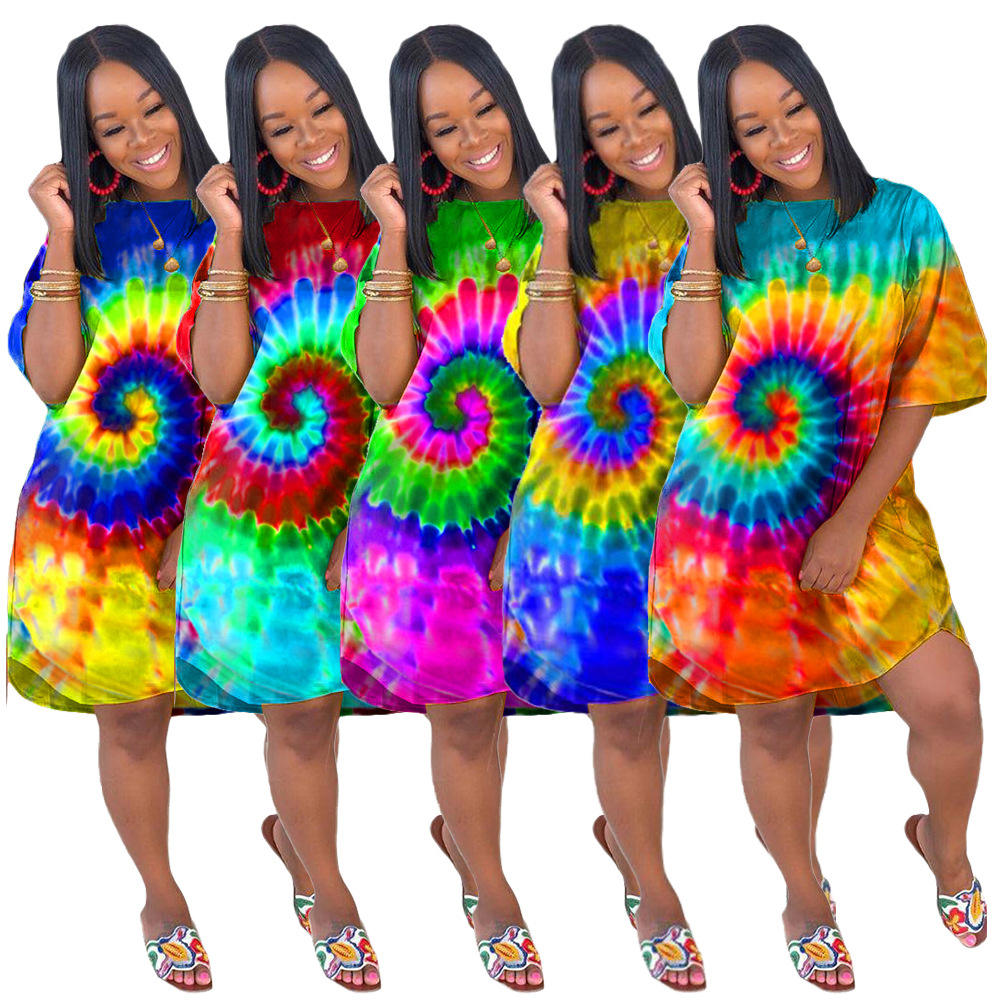 2020 Summer hot selling plus size women clothing fashionable tie dye print and long sleeve t shirt casual dresses