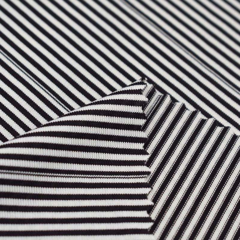 Textile factory single jersey stripe t shirt fabric 4-way stretch cool touch fabric