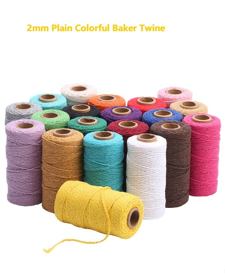 20 สี 2 มม.Premium Bakery Twine ASSORTED Raspberry Sorbet Bakers ผ้าฝ้าย,, solid Baker's Twine