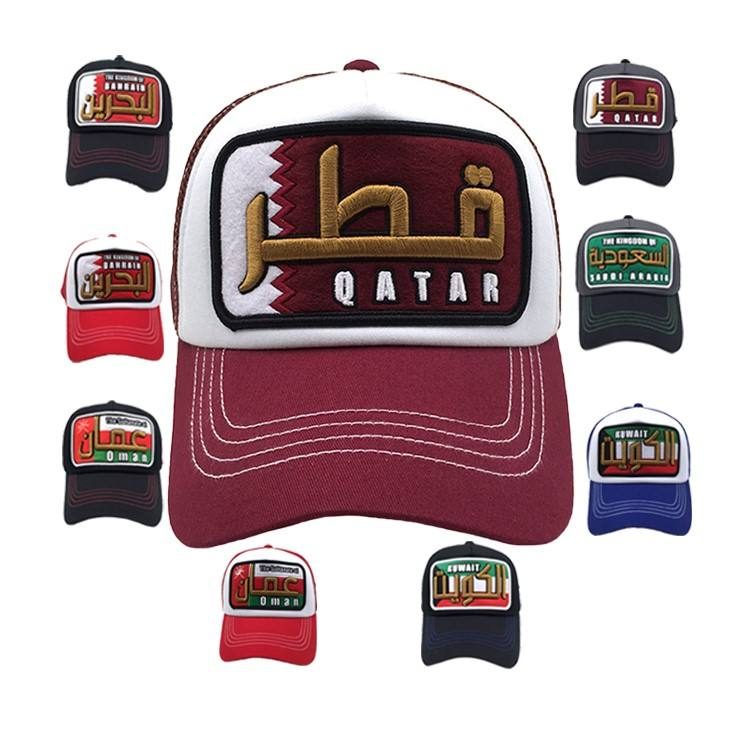 Custom 3D raised embroidery patch 5 panel polyester breathable baseball trucker mesh cap
