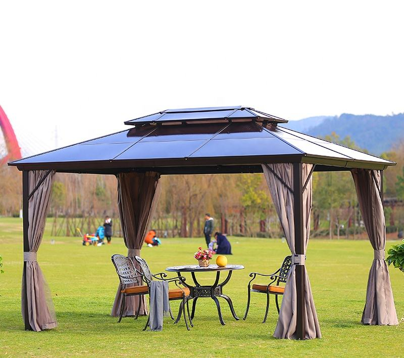 Outdoor Gazebos High Quality Garden Morden Party Double Polycarbonate Roof Gazebo 3*4M Luxury Aluminium Hardtop