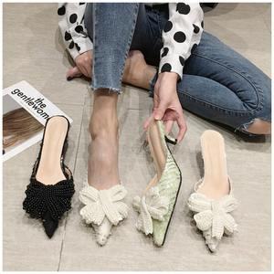 Designer Pearl Bow Mules Shoes Ladies Low Heel Pointed Toe Slipper Sandal Summer Outdoor Slip On Mule Slides