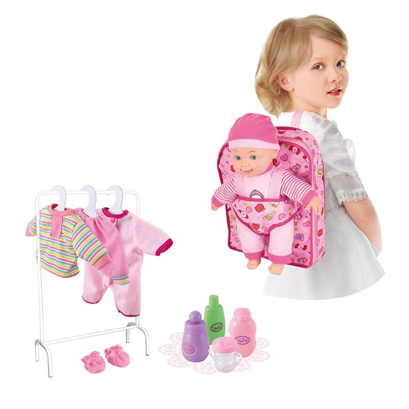 14 INCH Kids Play Set Baby Doll Toy Girl And Doll Matching Clothes