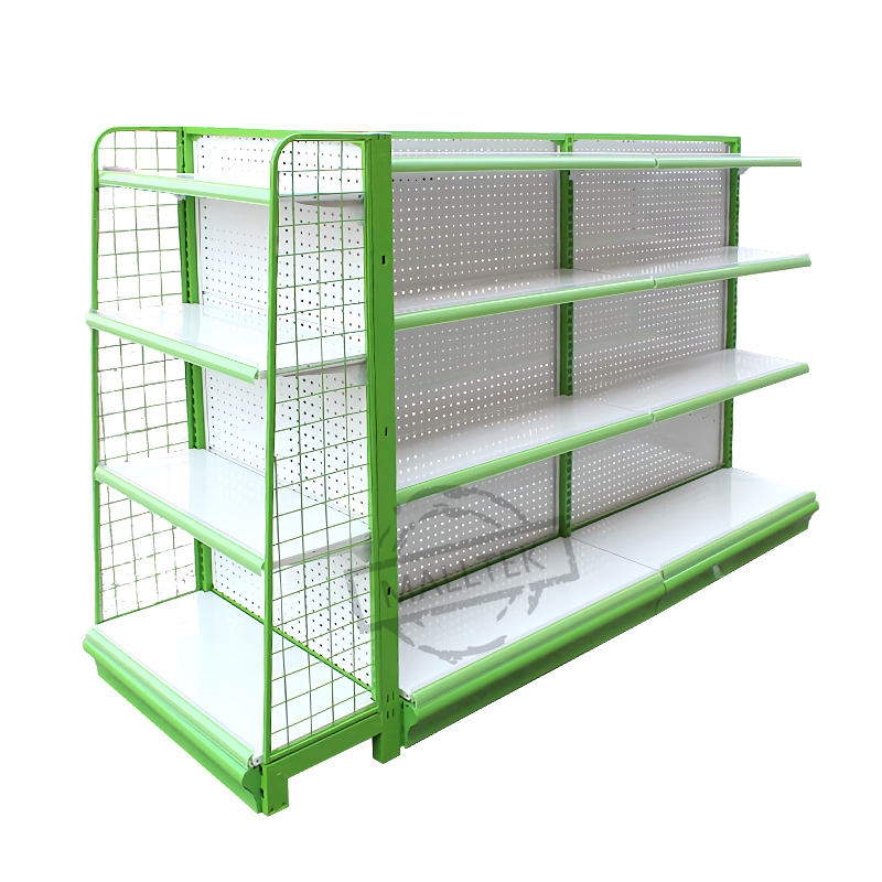 Double-Side Perforated Gondola Island Supermarket Shelf With End Shelves