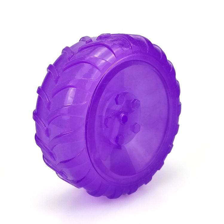Colorful squeaky sound textured surface TPR material tyre shaped squeaky toy